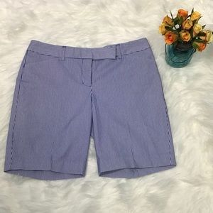 Express Editor Sz 6 Blue/White Pinstriped Shorts